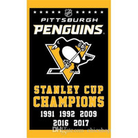 Wholesale Wholesale Soccer Flags - Pittsburgh Penguins Team Flag 2017 Stanley Cup Champions Flag Edmonton Oilers Blackhawks Toronto Maple Leafs Flags Polyester 3*5 FT By DHL