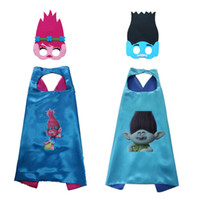 Wholesale stage clothes for children online - Trolls double layer cape children Cosplay capes Halloween Party Costumes for Kids clothes mask cape