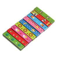 reed kid achat en gros de-Vente en gros-Top vente harmonica 16 trous enfants instrument de musique jouet éducatif couverture en bois coloré gratuit instrument à vent de roseau