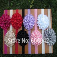 "Wholesale Rosette Flowers Mix - 50pcs lot baby Elastic Headbands soft stetch headband with 3"" satin flowers rosette flowers"