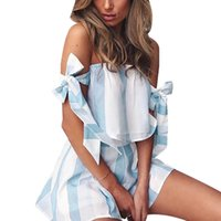 Wholesale striped tank top dress - Summer 2 Piece Set Women off shoulder bandage bow Tops blue white Strap Striped Chiffon Tee Shirt Boho Beachwear Sexy Tank Top Shorts