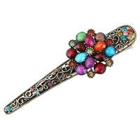 Wholesale Vintage Red Flower Hair Clip - Wholesale Chinese Vintage Design Hairpin Antique Alloy Colorful Flower Hair Clips Ornament Bohemia Hair Accessories for Female Headdress
