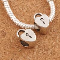 Wholesale Big Lockets - Heart Locket Alloy Metal Big Hole Beads 100pcs lot 7.6x12 mm Antique Silver Fit European Charm Bracelets L1271