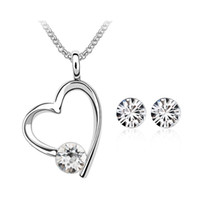 Wholesale eastern element - Top Selling Crystal heart necklace earring set for women Made with Swarovski ELEMENTS for women gift