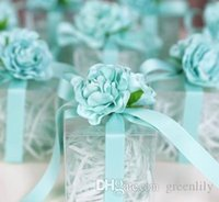 Wholesale Cube Holder - Wedding Favors Candy Boxes Romantic Roses Silk Flowers Favor Holders Gift Boxes Plastic Clear Silk Cube