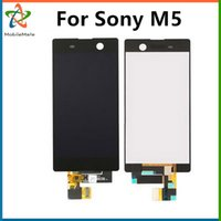 Wholesale Wholesale Spare Parts Lcd - Free Shipping Best Mobile Phone Spare Parts LCD Screen Touch Panel Digitizer For Sony M5 M5 E5603 E5606 E5653 Free Shipping Black & White