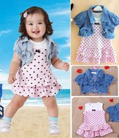 Wholesale Dot Tutu Dress Suits - Wholesale- Children Baby Girls Clothing Polka Dot Mini Dress Cute TUTU Suits + Tops Clothes 2Pcs Sets Denim Outfits Summer 1 2 3 Years