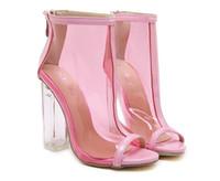Wholesale Ladies Shoes Zipper - DiJiGirls New Style women's high heels Zipper PVC Clear Crystal sandals ladies Square heel Peep Toe Sexy shoes woman size 35-40
