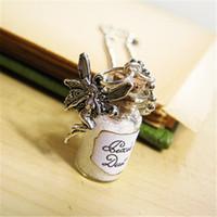 Wholesale Jewelry Vial Charm - 12pcs lot Pixie Dust Glass Bottle Necklace Glass Vial Pendant Fairy Dust Charm Pixies Fairy Tale jewelry silver tone