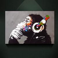 decoração da parede do macaco venda por atacado-Pintura Da Lona moderna Banksy Street Art Impressão DJ MONKEY Chimpanzé com Fone de Ouvido DA Lona de PINTURA Poster Wall Decor Art Imagem para Sala de estar