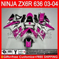 Wholesale ninja kawasaki fairings pink - 8Gifts 23Colors kit For KAWASAKI NINJA ZX 636 ZX 6R 03-04 600CC 29NO51 Rose pink ZX-6R 2003 2004 ZX-636 ZX636 ZX6R 03 04 Fairing Bodywork