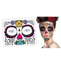 Wholesale Hot Christmas party Facial day of the dead faced tattoo Halloween and masquerade ball must pretty tattoo sticker waterproof faced tattoo