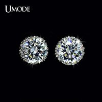 Wholesale 8mm diamond studs - UMODE Multi Prongs 8mm 2ct Top Quality CZ simulated Diamond Stud Earring UE0013