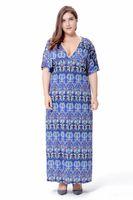 Wholesale Style For Women Working Dress - Vintage Party Dresses Oversized Deep V neck Long Dress for Women Bohemian Style Summer dress Wholesale Plus Size 4XL 6XL SQ-011