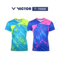 Wholesale korea shorts - VICTOR New 2017 men badminton shirts shorts,polyester breather women South Korea short sleeve uniform table tennis sportwear jersey M-4XL