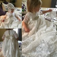 Wholesale Cheap Baby Hats For Girls - 2017 Lace Christening Dresses For Baby Girl With Hat Crystal Sash Half Sleeves Baptism Gown Cheap Kid First Communication Dress