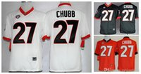 Wholesale Good Football Jerseys - Cheap Georgia Bulldogs Nick Chubb 27 Men's White Red Black College Football Limited Football Jerseys Good Quality Size M-XXXL