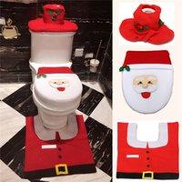 Wholesale Thick Bathroom Rugs - Wholesale-Christmas Decorations Santa Claus Toilet Seat Cover Rug Bathroom Set Contour Rug for Home Papai Noel Navidad Decoracion