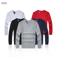 Wholesale white knit button sweater men - Polo sweater Free shipping 2017 new high quality mile wile polo brand men's twist sweater knit cotton small horse sweater jumper pullover