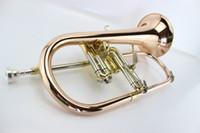 Wholesale bach trumpet mouthpieces - wholesale Professional Flugelhorn Installed bb Phosphorus& Copper Trumpet Mouthpiece Cornet Bach Horn Rotary Flugelhorn Musical Instrument