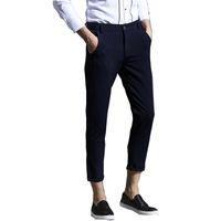 Wholesale Fit Suite - Wholesale- Autumn 2016 New Top Man's Ankle-length Ninth Pants Casual Fashion Men Suite Pants Slim Fit Comfortable Trousers For Male K177