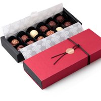 Wholesale Handmade Crafted Birthday - 4 6 12 Packed Red Chocolate Paper Box Valentine's Day Christmas Birthday Party Gifts Packaging Boxes 10Pcs lot