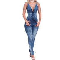 ingrosso jumpsuits a basso taglio-All'ingrosso- Tuta di jeans blu Donna Sexy Taglio corto con scollo a V Tuta aperta senza maniche Tute Slim Denim