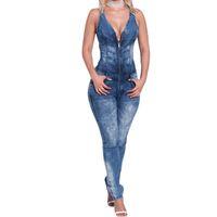 niedrigste overalls großhandel-Wholesale- Blaue Denim-Overall Frauen Sexy Low Cut-Reißverschluss mit V-Ausschnitt Open Back Ärmel Jumpsuits dünner Denim-Overall