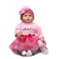 ingrosso bambole lunghe-Parrucca per capelli lunghi in silicone Reborn Baby Educational Baby Doll 22 pollici Tessuto realistico Bambole in vinile Babyborn Parrucche lunghe