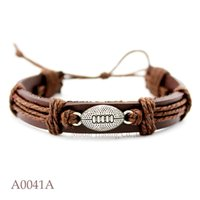 Wholesale Cuff Friendship Bracelets - (10PCS lot) Football Adjustable Leather Friendship Cuff Bracelet for Men & Women Football Bangle Casual Wristband Jewelry