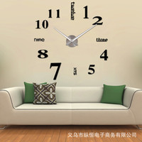 Wholesale Unique Wall Clocks - Wholesale- muhsein 2016 New Arrivals Wall Clocks Creative Modern Wall Stickers Unique Big DIY 3D Digital Mirror Art Home Decor Freeshipping