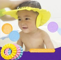 Wholesale Safe Shampoo Shower Cap - 3 Colors Safe Shampoo Shower Bath Protection Soft Caps Baby Hats Adjustable Baby Shower Cap Protect Shampoo Kids Bath hat