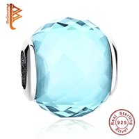 Wholesale Baby 925 Silver Jewelry - BELAWANG Fit Pandora Bracelet&Bangle DIY Jewelry Making Murano Glass Beads 925 Sterling Silver Baby Blue Crystal Charms Women Christmas Gift