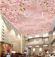 d techo murales papel tapiz foto d techo flores de cerezo cielo nubes palomas no