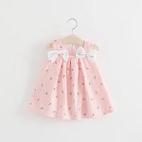 Wholesale Korean Little Baby Girl Dress - Lovely Little Girls Shoulder Bow Braces Dresses 2017 Summer Kids Boutique Clothing Korean Baby Girls Print Suspender Dresses