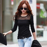 Wholesale T Shirt New Fashion Korea - Korea New fashion Women's Autumn Cotton Lace Mesh patchwork long sleeve T Shirts Black Blue White 3 colors all-match tops tees