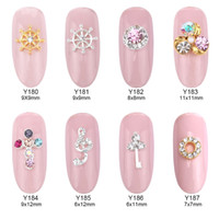 Wholesale nails music - 10pcs gold 3d rudder metal flower pearl music note mixed rhinestones cross nail art decoration jewelry nails supplies Y180~187