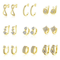 Wholesale African Hoop Earrings - 30pairs lot 30 models mixed order 18K yellow gold plated small hoop earrings cubic zirconia trendy huggie for women #er185