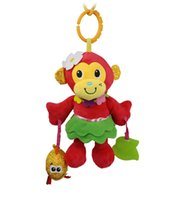 Vente en gros - HOT 25cm Baby Rattles Toy Peluche Rangée Pendentif Mignon Rouge Monkey Sound Teether Bell Baby Crib Poussette 0-12 mois Soft Play Doll