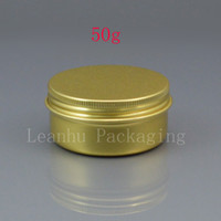 Wholesale Lip Balm Tin Containers Wholesale - 50g empty gold aluminum jar container for lip balm storage cosmetic metal containers bottles 1.7oz cream metal pot food tin
