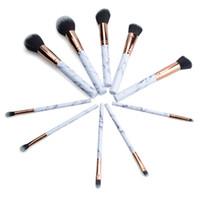 Wholesale Pro Tools Set - Marble Makeup Brush 10pcs set Marbling Pro Eye shadow brushes Marble Brush Multi function BB Cream Brusher Eyeline Cosmetic tool drop ship