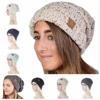 Wholesale Women Fashion Knit Hats - CC Knitted Hats CC Trendy Beanie Women Chunky Skull Caps Winter Cable Knit Headgear Slouchy Crochet Hats Fashion Outdoor Hat 100pcs OOA2453
