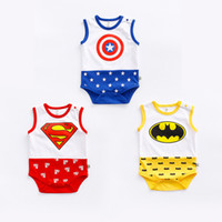 Wholesale Superman Baby One Piece - 2017 baby boys girl clothing romper newborn one-piece infant bodysuits spiderman superman stars cotton sleeveless kid clothes wear summer