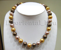 Wholesale Silver Multi Gem Necklace - FREE SHIPPING new Noble fine jewelry gem >>Genuine 12mm Round Purple Gold Brown Multi-color South Seashell Pearl Necklace