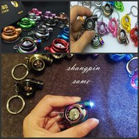 Wholesale Antique Torch - Creative Fashion LED Electric Torch Spinning Turbo Keychain Fans Favorite Sleeve Bearing Turbine Turbocharger Keyring Key Chain Ring Keyfob