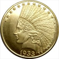 Wholesale Motto Metal - 1933 United States 10 Dollars Indian Head Eagle with motto Brass Copy Coin