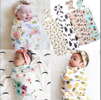 Wholesale Soft Warm Baby Blanket - Infant Baby Swaddle Sack Baby Floral Pineapple Blanket Newborn Baby Soft Cotton Cocoon Sleep Sack With Matching Knot Headband 2Pcs Set 10 St