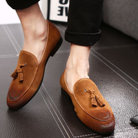 Wholesale oxford platform heels - Luxury Brand Casual Shoes Genuine Leather Cow Suede Tassel Men Loafers Luxury Brand Slip On Dress Shoes Oxfords Shoes For Man Red Sole