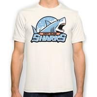 Wholesale Island Tops - Amity Island Sharks New Fashion Man T-Shirt Cotton O Neck Mens Short Sleeve Mens tshirt Male Tops Tees Wholesale