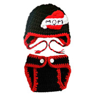 Wholesale diaper kids cute girls resale online - Crochet I Love Mom Costume Handmade Knit Baby Boy Girl Mother Day Hat Diaper Cover Kids Earflap Hat Valentine Day Hat Photo Prop